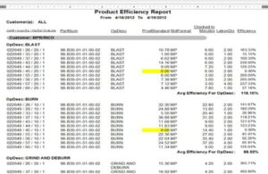 Product Efficiency Report